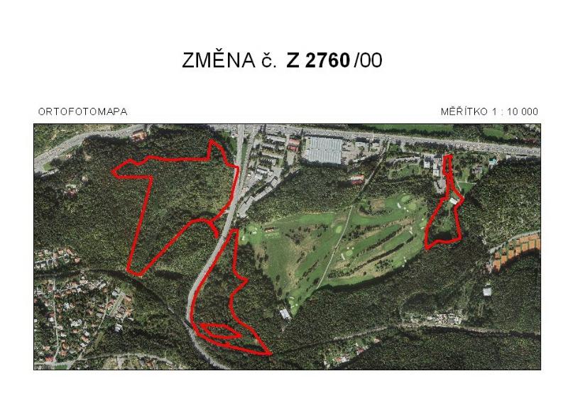 Vyznačení změny území, kterého se rozšíření golfového hřiště týká