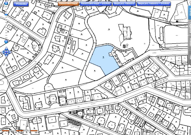 Mapka okolí dolní stavby z Katastru nemovitostí