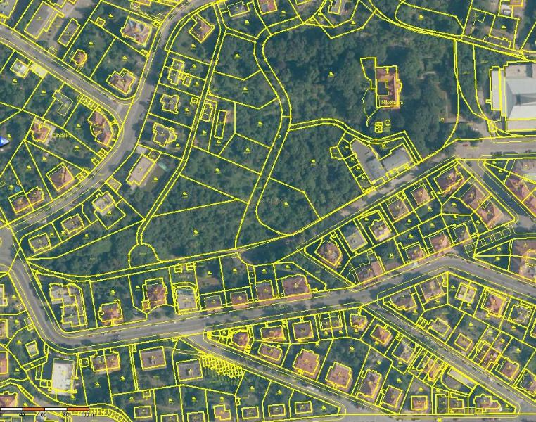 Ortofoto z Katastru nemovitostí - celkový pohled na údolí Nikolajky