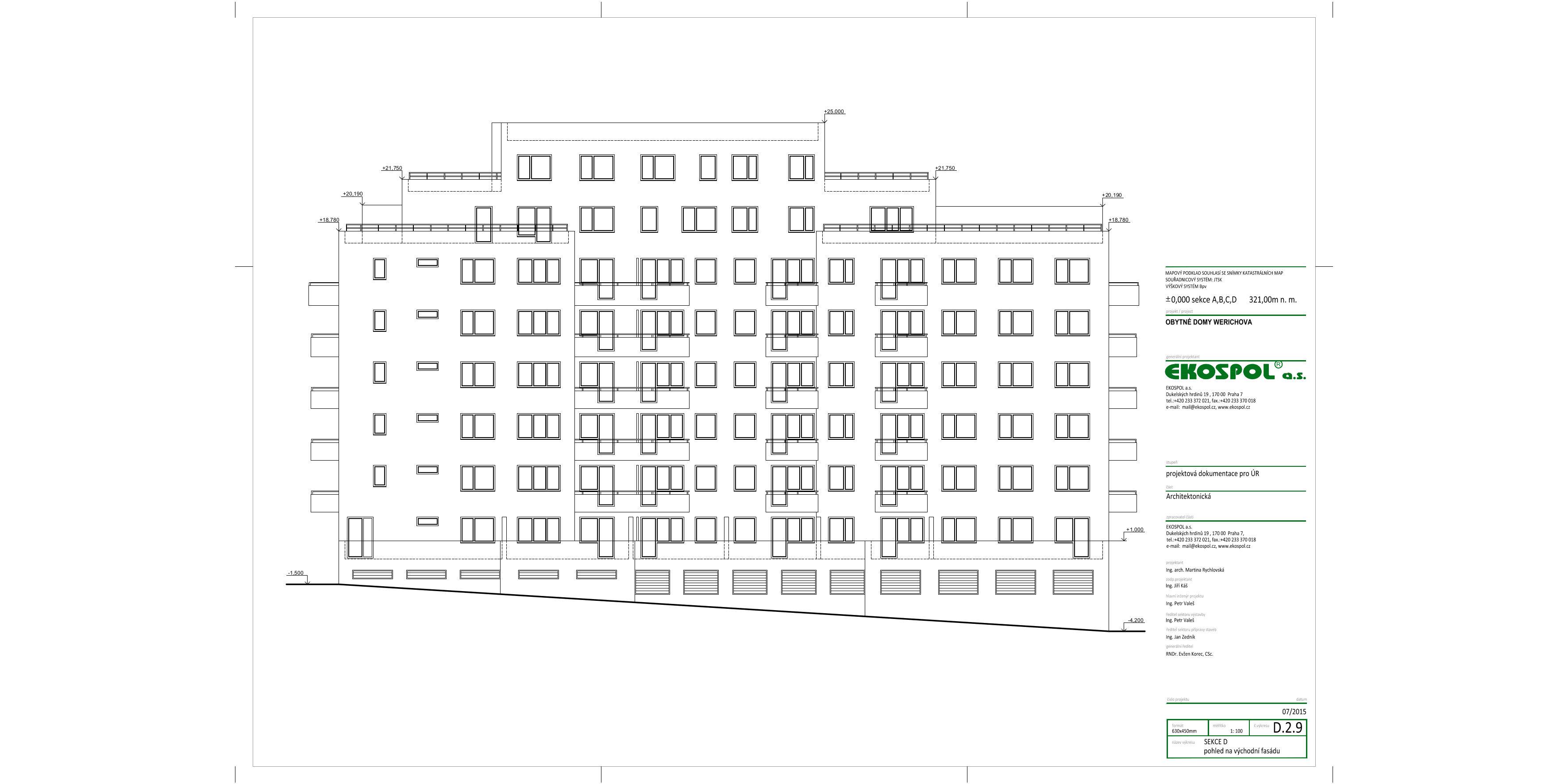 Obytné domy Werichova - pohled - východní fasáda (zdroj: dokumentace Ekospolu)