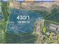 Mapa z katastru nemovitostí. Největší pozemek 430/1 měří 106 tisíc m2