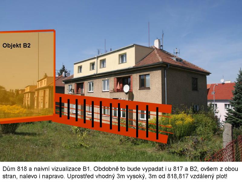 Vizualizace plotu, obyvatelé přízemí budou mít výhled do 3metrové betonové zdi